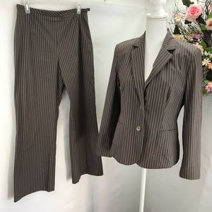 Talbots brown pinstripe pant suit fully lined .